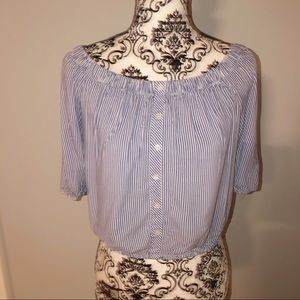 Large Ambiance Blue White Striped Crop Top